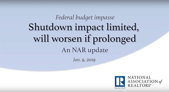Government Shutdown a Negative on Market NAR SAAR